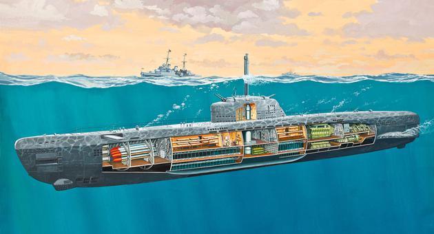 J And M Auto >> Deutsches U-Boot Typ XXI mit Interieur model do sklejania Revell 05078
