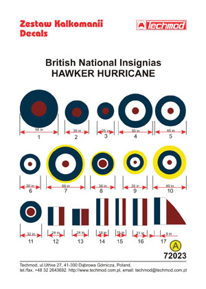 british national insignias hawker hurricane techmod 72023. Black Bedroom Furniture Sets. Home Design Ideas