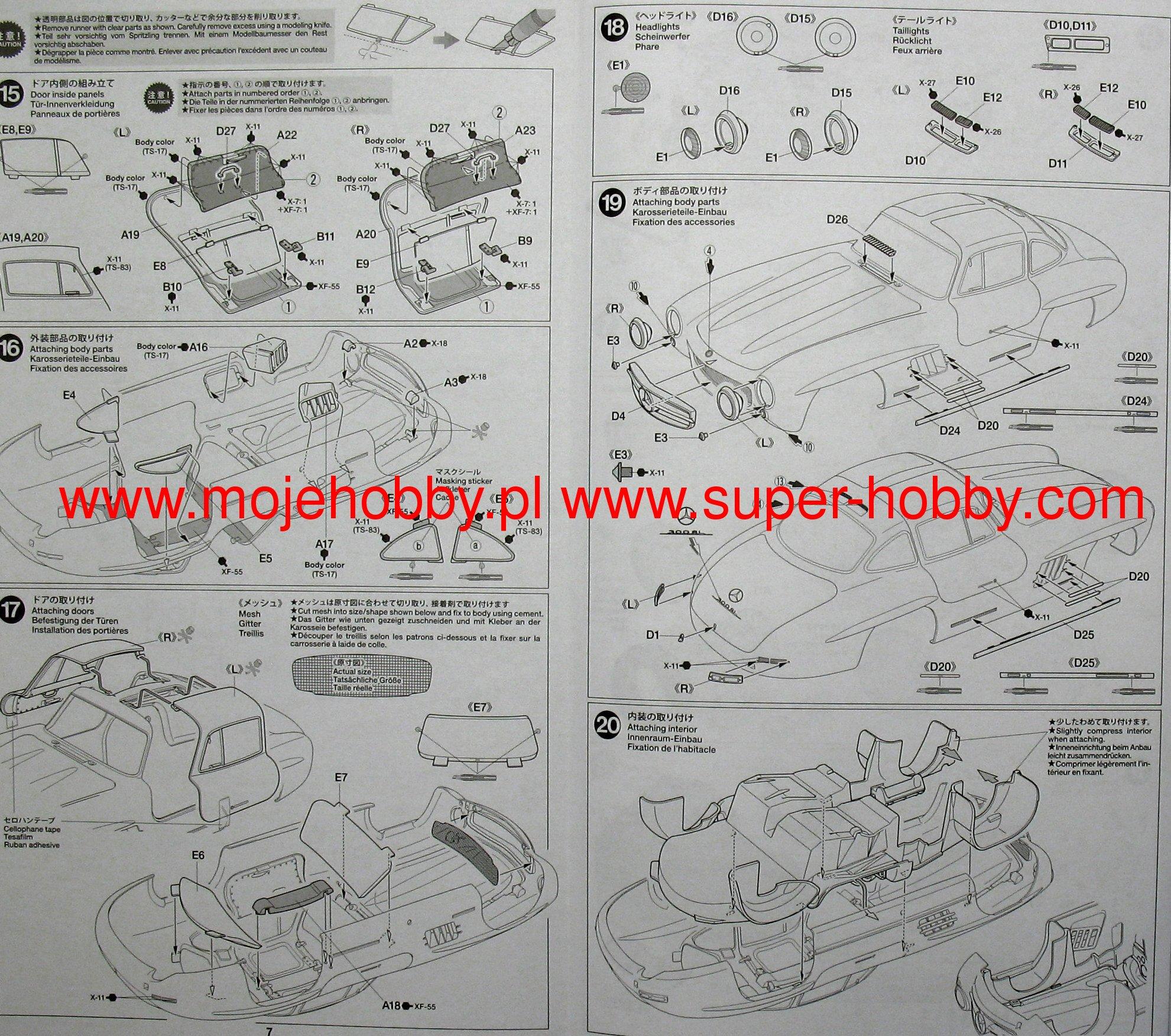 mercedes benz 300sl model do sklejania tamiya 24338
