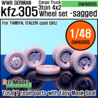 WW2 German Cargo truck Kfz.305 Sagged Wheel set (for Tamiya/italeri 1/48) - Image 1