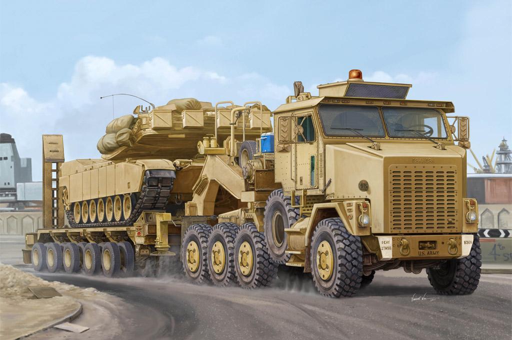 Hobbyboss  85502 1//35 M1070 Truck Tractor/&M1000 HET Semi-Trailer Model Kit Car
