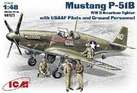 North American Mustang P-51B US WW2 Fighter with US AF Pilots and Ground Personnel model kit