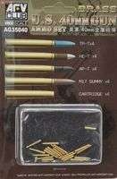 Bofors 40mm Brass ammo set. Includes TP-T x 4, HE-T x 4, AP-T x 4, M17 dummy x 4 and Cartridge x 4
