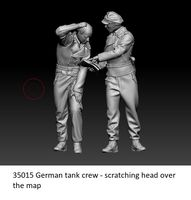 German tank crew - scratching head over the map - Image 1