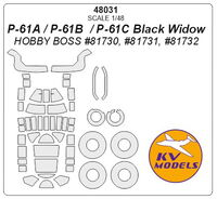 P-61A / P-61B  / P-61C Black Widow (HOBBY BOSS) + wheels masks - Image 1