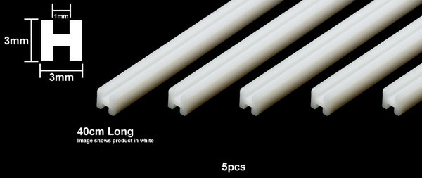 Plastic Beams 3mm H-Shaped - Clear 5pcs - Image 1