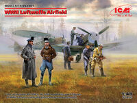 WWII Luftwaffe Airfield Messerschmitt Bf 109F-4, Hs 126 B-1, German Luftwaffe Pilots and Ground Personnel (7 figures)