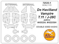 De Havilland Vampire T.11 / J-28C (AIRFIX) - Double sided masks + masks for wheels - Image 1
