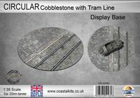 Circular Display Base Cobblestones with Tram Track 200mm - Image 1