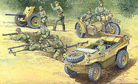 German Schwimmwagen, Howitzer, BMW Motorcycle w/Sidecar and Soldier