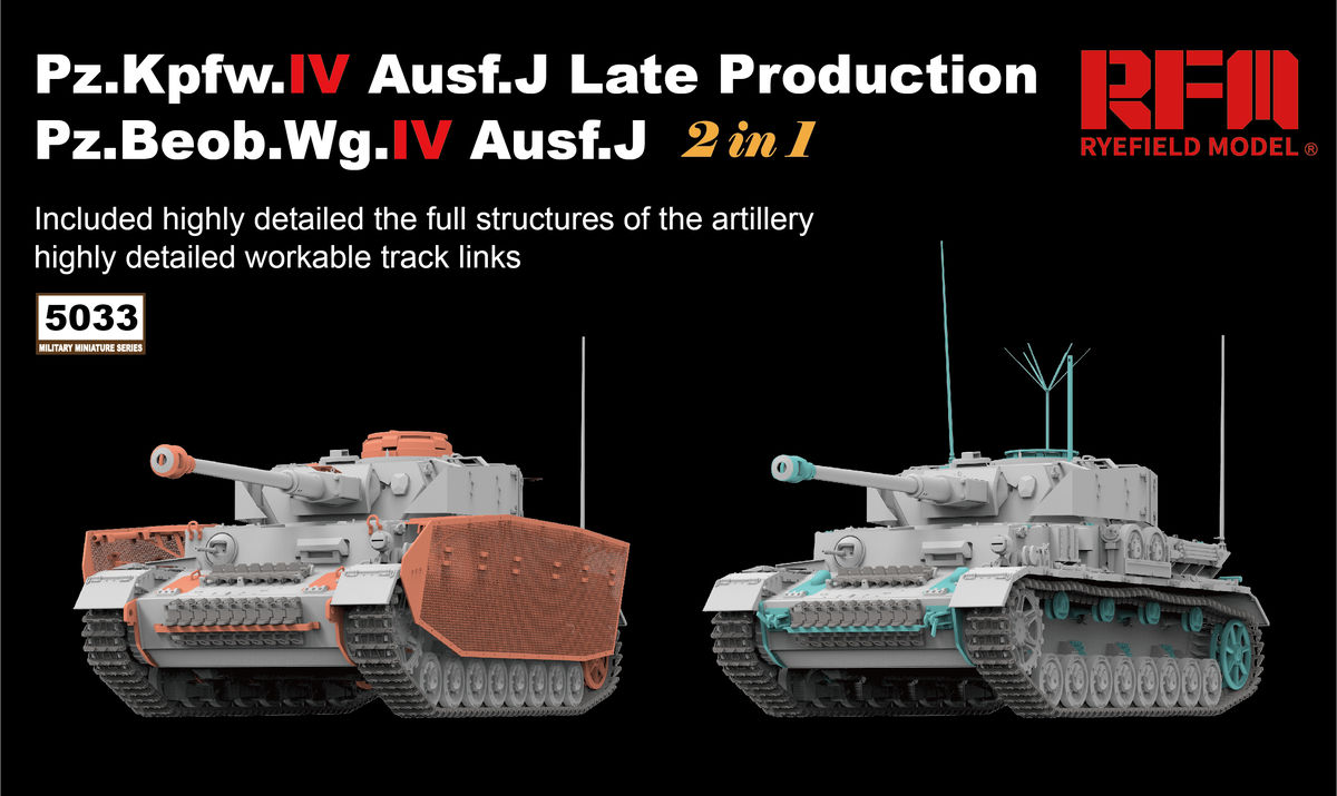 PZ.KPFW.IV AUSF.J LATE PRODUCTION /PZ.BEOB.WG.IV AUSF.J 2 IN 1 W/WORKABLE TRACK LINKS - Image 1